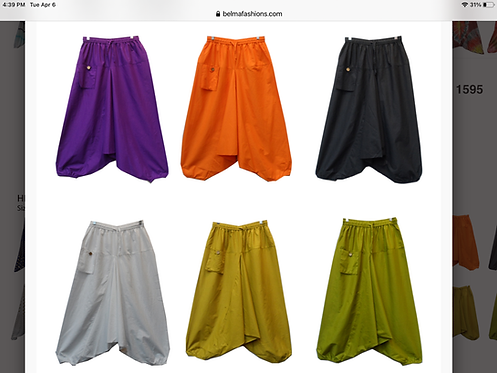 Solid Color Dropped Crotch Pants