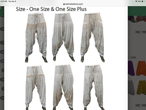 White & Gold Harem Pants