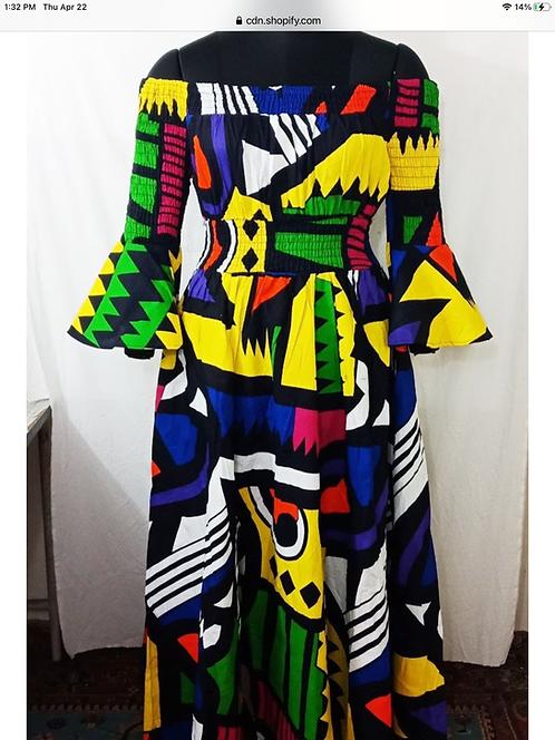 Geometric Print Maxi Dress with Matching Head Wrap (Print #515)