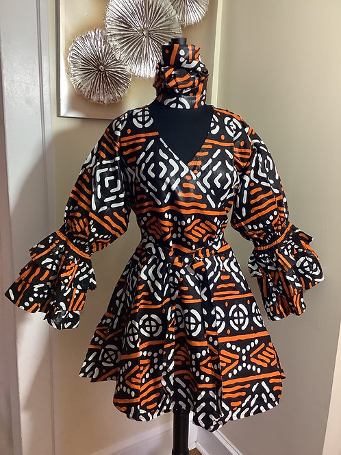 African Print Multi-Color Wrap Tunic/Dress with Headwrap