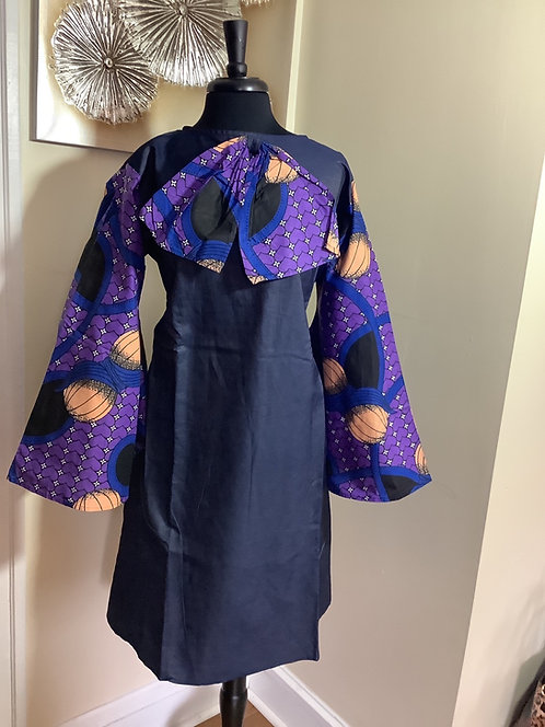 Denim Tunic with Purple Print Bow and Sleeves