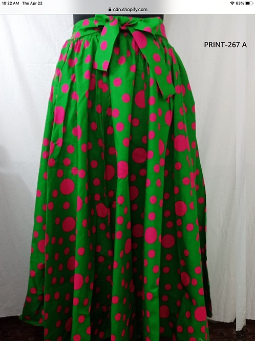 African Print Maxi Skirt with Matching Head Wrap (Print #267-A)