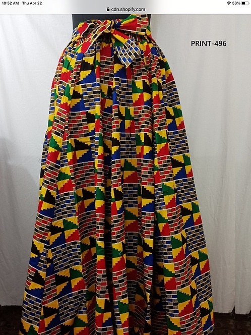 African Print 8 Panel Maxi Skirt with Matching Head Wrap (Print #496)