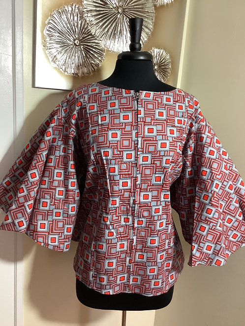 Geometric Print Top Zippered Frint with Elastic Back Bodice