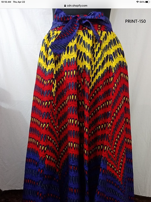 African Print 8 Panel Maxi Skirt with Matching Head Wrap (Print #150)