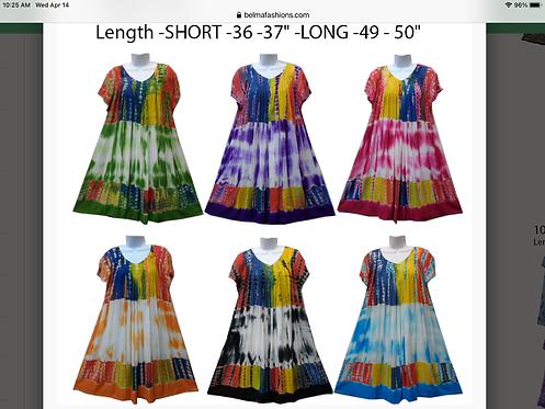 Short Sleeve Tie-Dye Maxi Sundresses