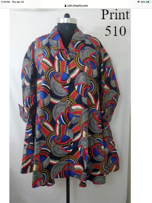 Multi Color Big Button Down Tunic/Dress with Pockets (Print #510)