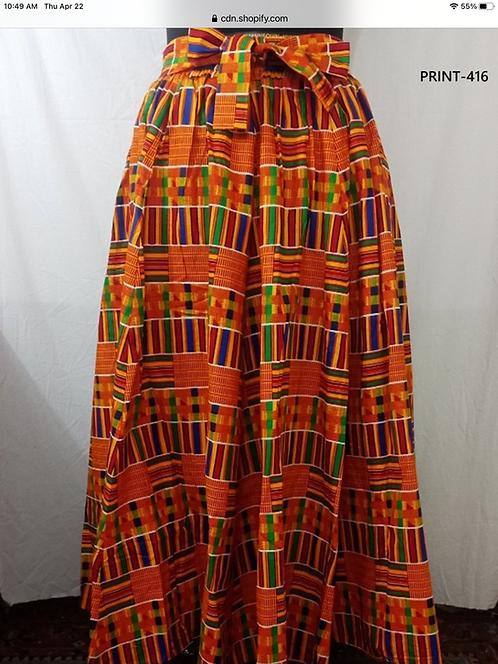 Kente African Print Maxi Skirt with Matching Head Wrap (Print #416)