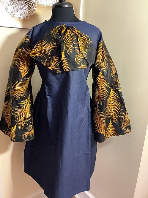 Denim Tunic with Black and Gold Colored Bow and Sleeves