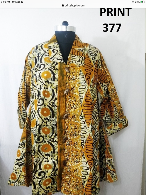 Abstract Print Big Button Down Tunic/Dress with Pockets (Print # 377)
