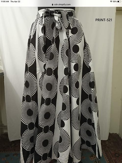 Black & White Maxi Skirt with Matching Head Wrap  (Print #521)