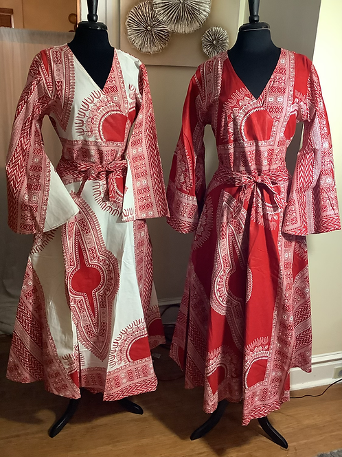 White & Red and Red & White Wrap Dresses with Head Wrap