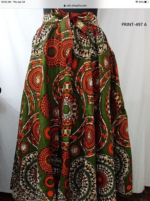 African Print Maxi Skirt with Matching Head Wrap (Print #497-A)