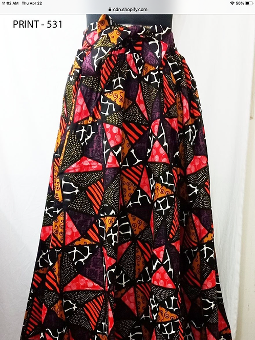 African Print Maxi Skirt with Matching Head Wrap (Print #531)