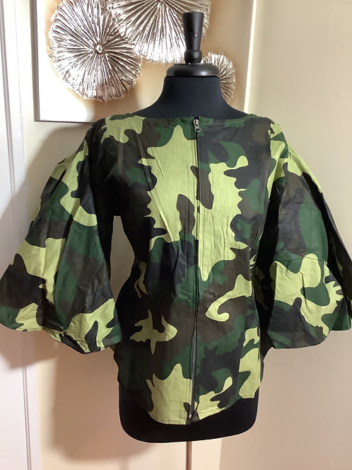 Camouflage Zippered Front Top with Elastic Back Bodice