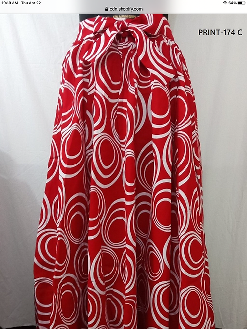 Red & White 8 Panel Maxi Skirt with Matching Head Wrap (Print #174 C)