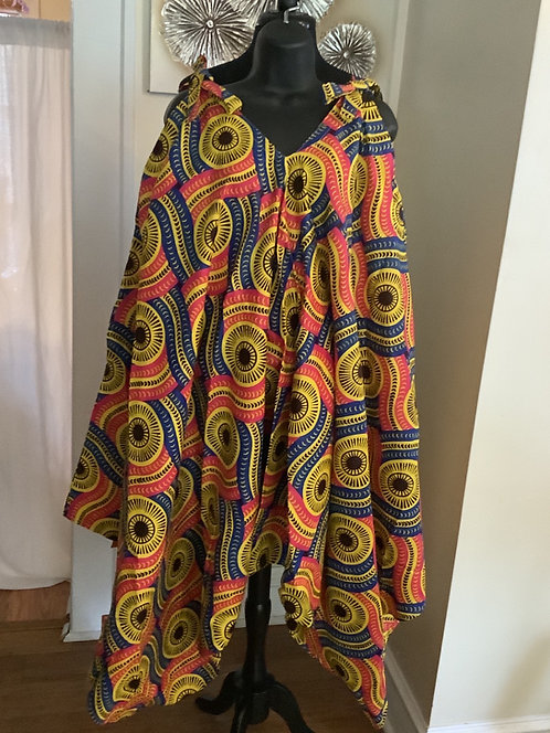 African Print Jumpsuit with Shoulder Tie Straps and Pockets