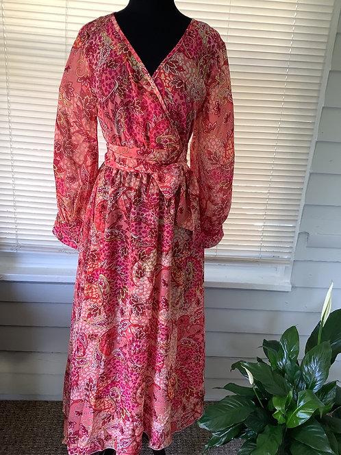 Coral Multi Color Print Wrap Dress