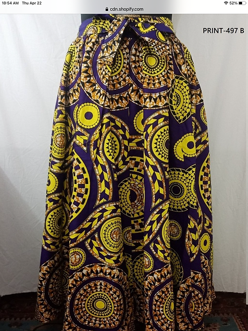 African Print Maxi Skirt with Matching Head Wrap (Print #497-B)