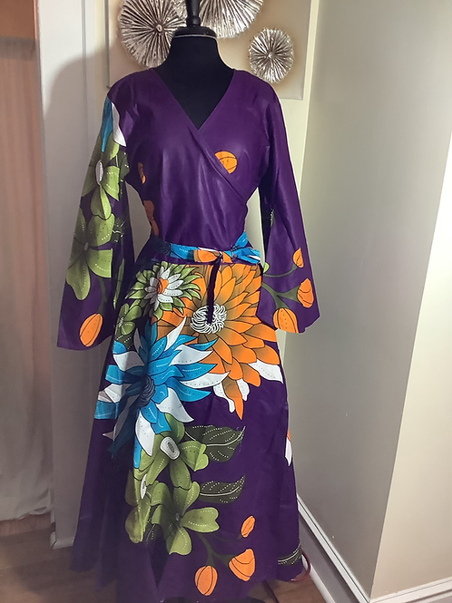 Purple Bold Floral  Print Maxi Dress with Head Wrap