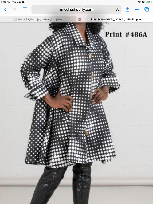 Black & White Big Button Down Tunic/Dress with Pockets (Print #486 A)
