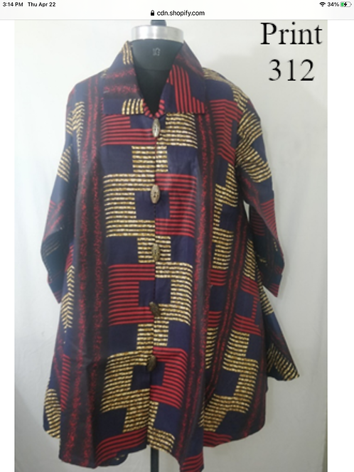 Multi Color Big Button Down Tunic/Dress with Pockets (Print #312)