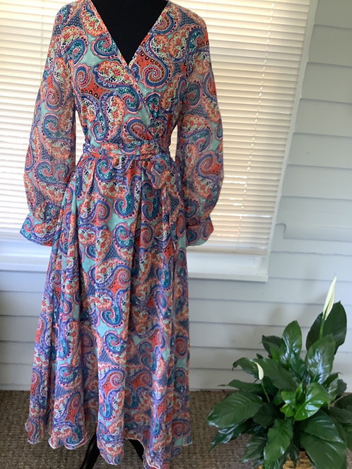 Multi Color Wrap Maxi Dress