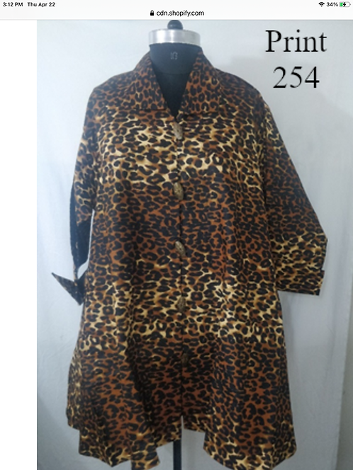 Animal Print Big Button Down Tunic/Dress with Pockets (Print #254)