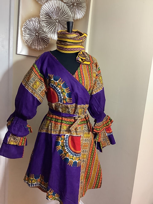African Print Wrap Tunic/Dress with Headwrap