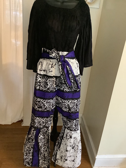 Bell Bottom Palazzo Pants with Head Wrap/Belt and Pockets