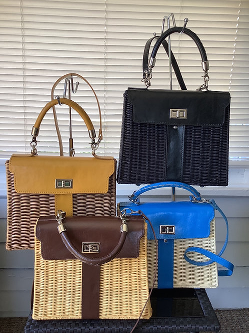 Natural Straw Handbags with Leather Trim and Leather Straps
