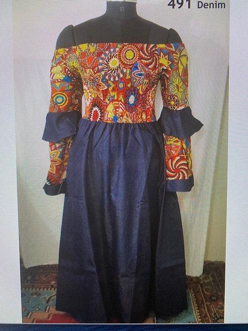 African Print Dress w/Denim
