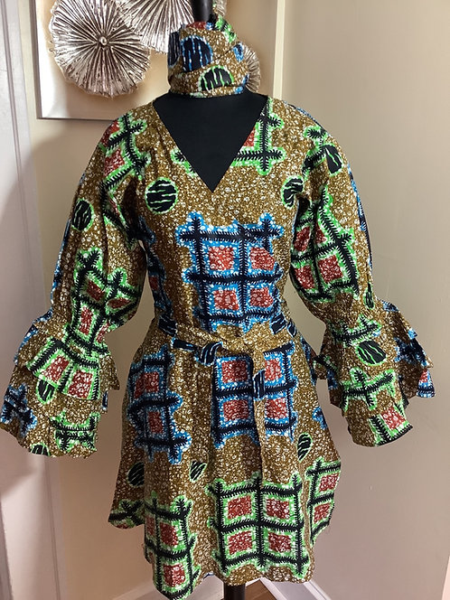 Multi-Color Print Wrap Tunic/Dress with Headwrap