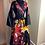 Thumbnail: Black Bold Floral Print Wrap Dress with Head Wrap