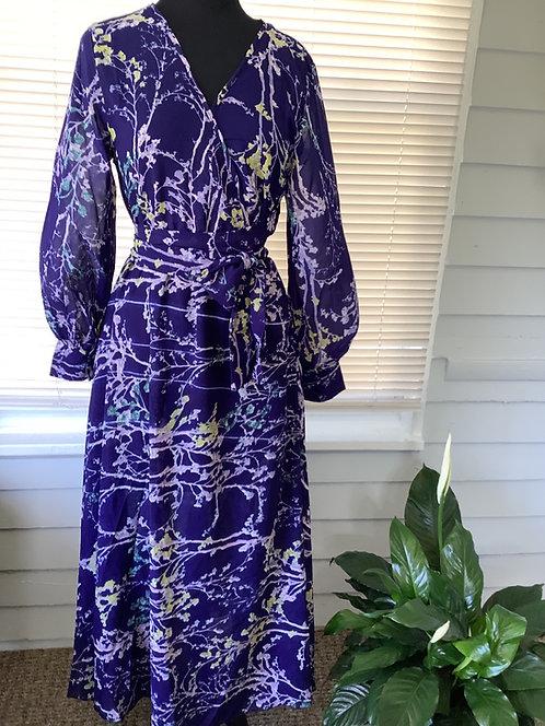 Purple Floral Wrap Maxi Dress