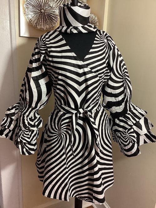 Black & White Zebra Print Wrap Tunic/Dress with Headwrap