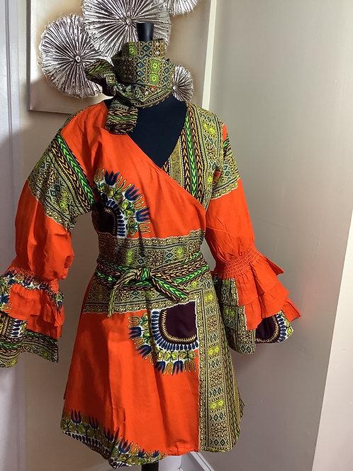 Multi-Color African Print Wrap Tunic/Dress