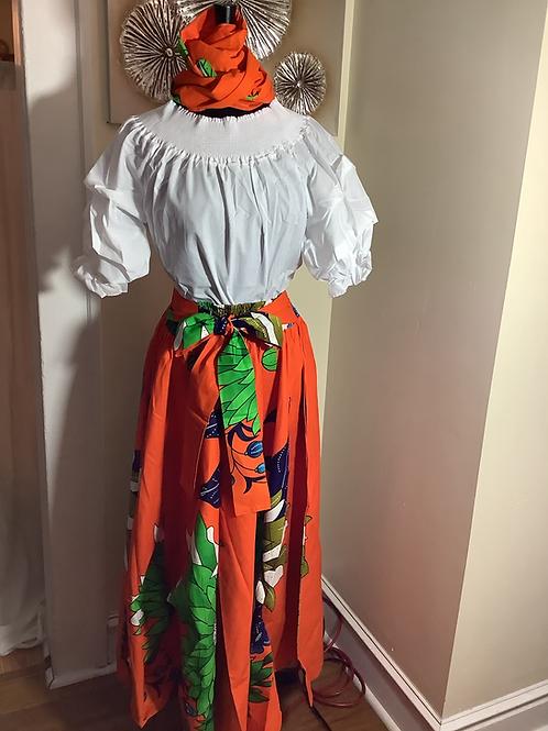 Orange Bold Floral Print Maxi Skirt with Head Wrap