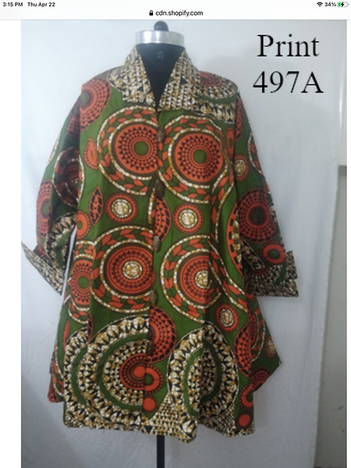 Multi Color Print Big Button Down Tunic/Dress with Pockets (Print #497 A)