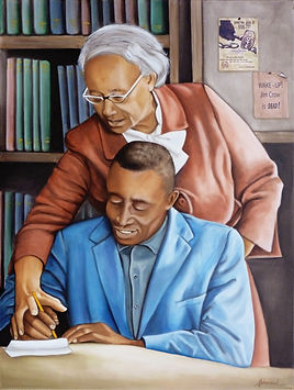 Adult Literacy- Septima Clark Oil 30x40.