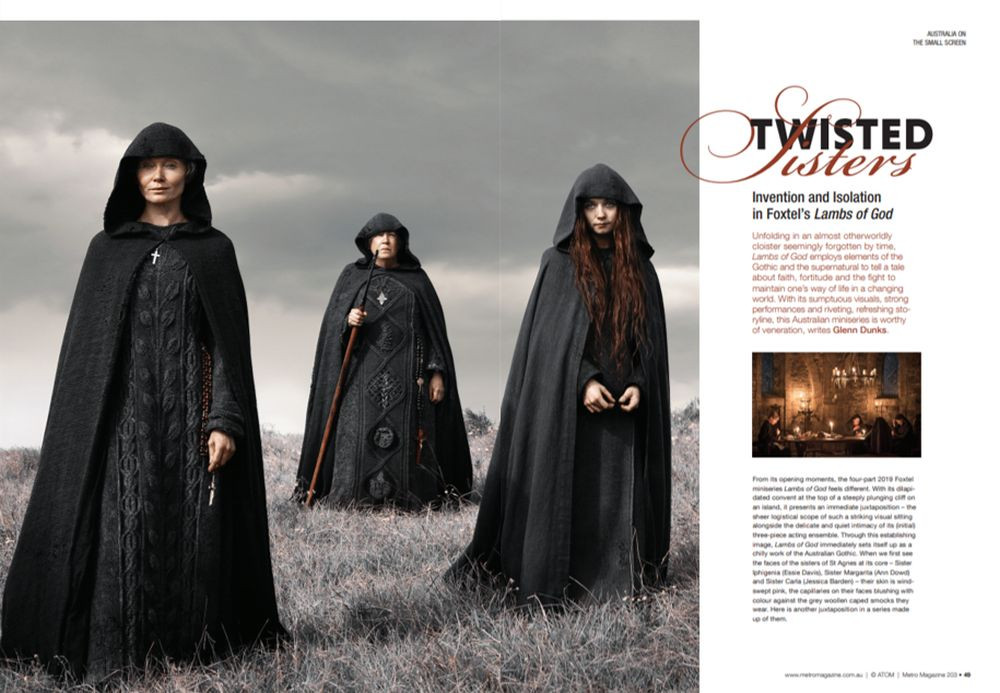 """Magazine layout featuring a still from Lambs of God of three nuns dressed all in black on a clifftop. Words down the right hand side. """"Twisted Sisters"""""""