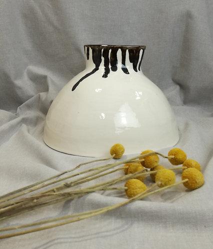Decorative white earthenware vase