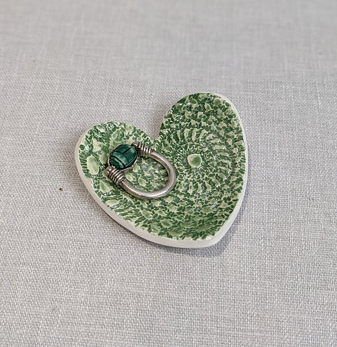 Green Heart-shaped Trinket Dish