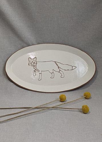Fox motif platter