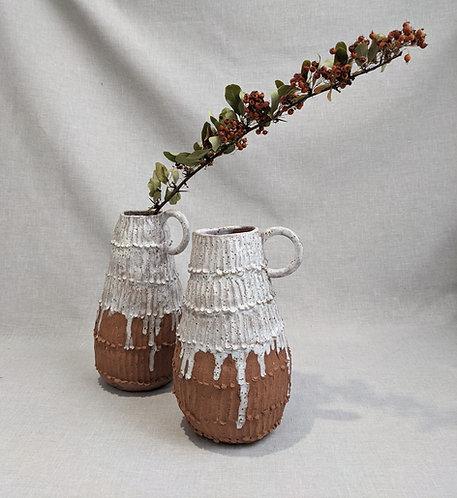 Drip glaze handbuilt jug