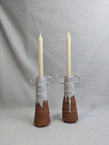 Terracotta crank candlesticks (pair)