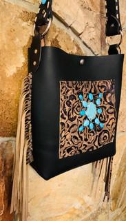 Black leather, blue turquoise purse