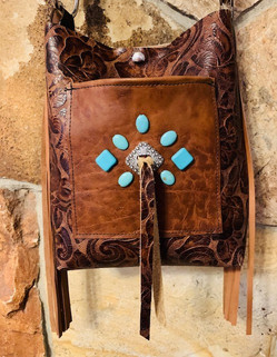 Tan embossed leather purse, blue turqouise stones