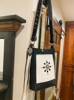 Black & white leather purse