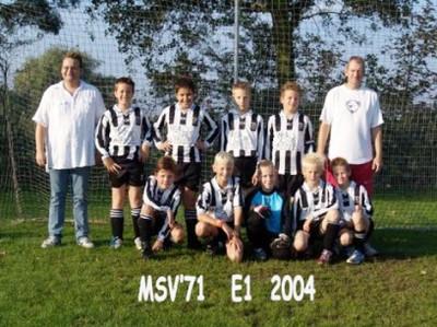M.S.V.'71-E1 Seizoen 2004-2005 Kampioen
